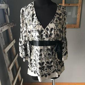 Nanette Lepore Silver Black Beaded Silk Wrap Tunic
